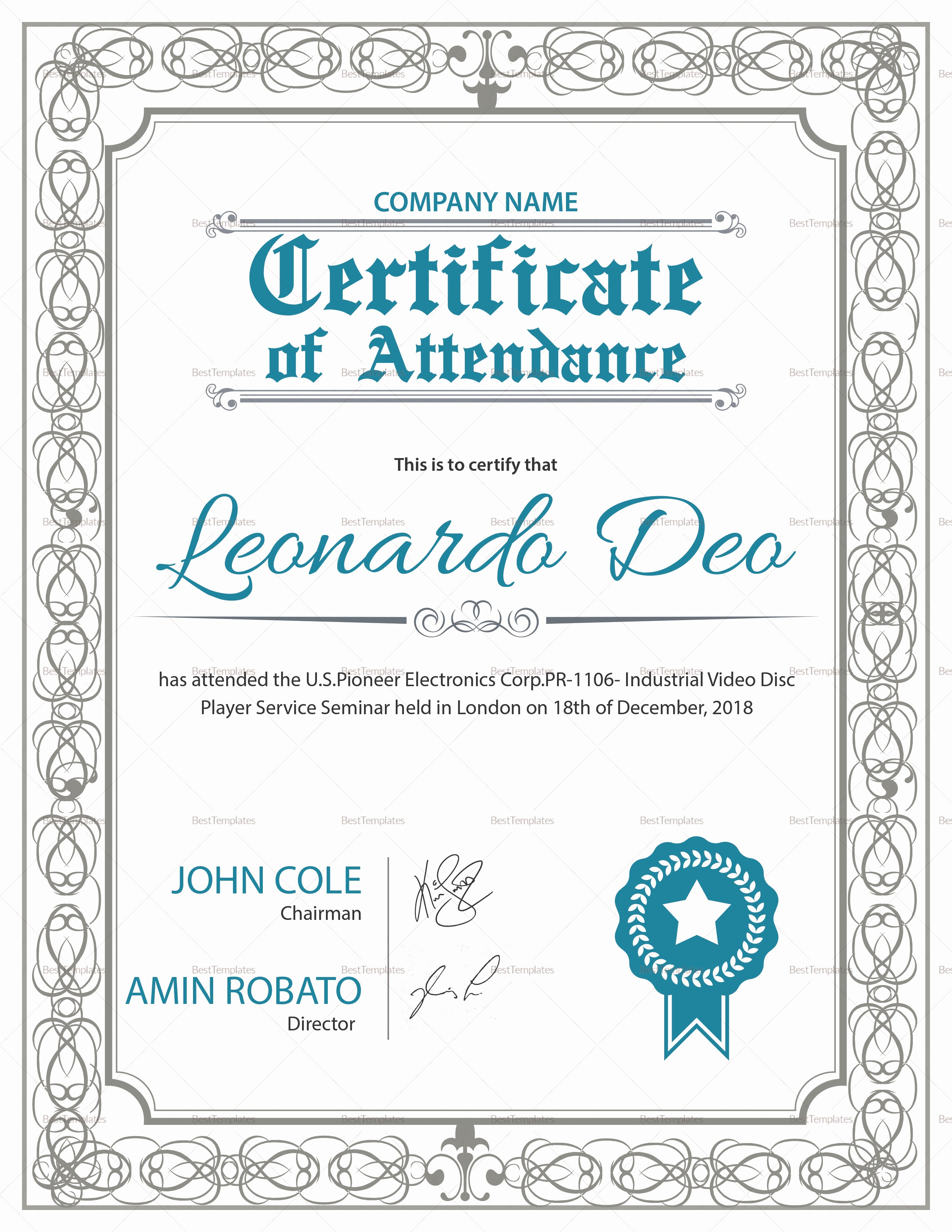 Certificate Of attendance Template Word Lovely Regular attendance Certificate Design Template In Psd Word
