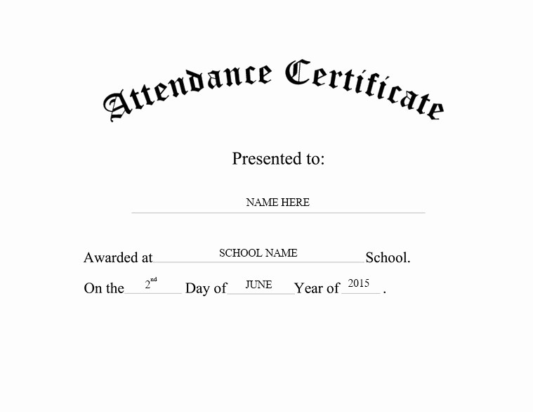 Certificate Of attendance Template Word New 13 Free Sample Perfect attendance Certificate Templates