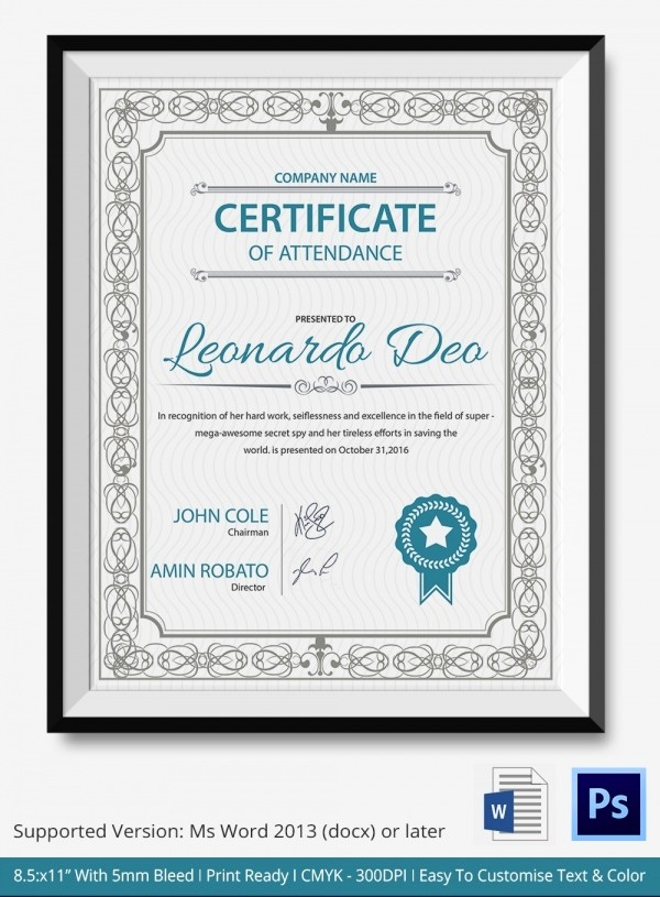 Certificate Of attendance Template Word New 33 Psd Certificate Templates – Free Psd format Download