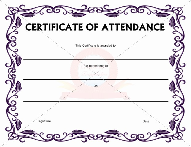 Certificate Of attendance Template Word Unique Templates for Certificates attendance