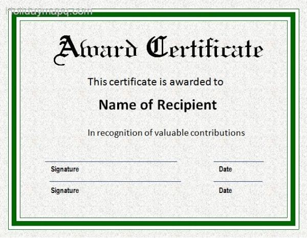 Certificate Of Award Template Free Best Of Award Certificate Template Holidaymapq