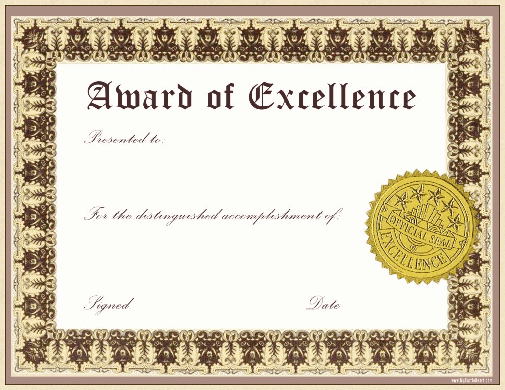 Certificate Of Award Template Free Best Of Impressive Award Of Excellence Template with Gold Stamp