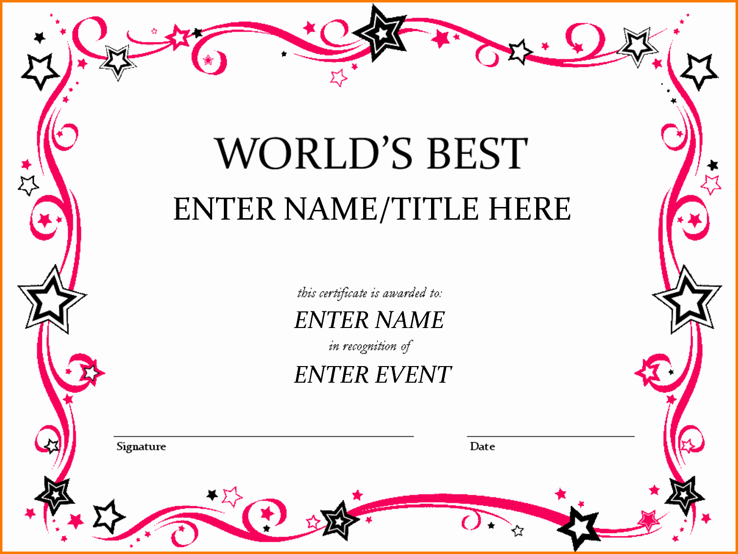 Certificate Of Award Template Free Luxury Award Template Word