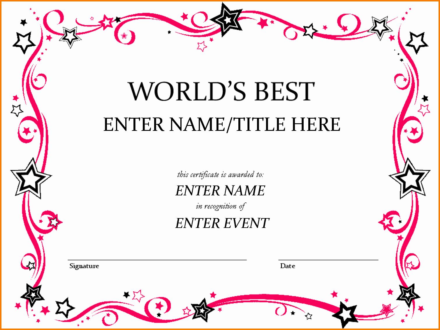 Certificate Of Award Template Free Luxury Award Template Word