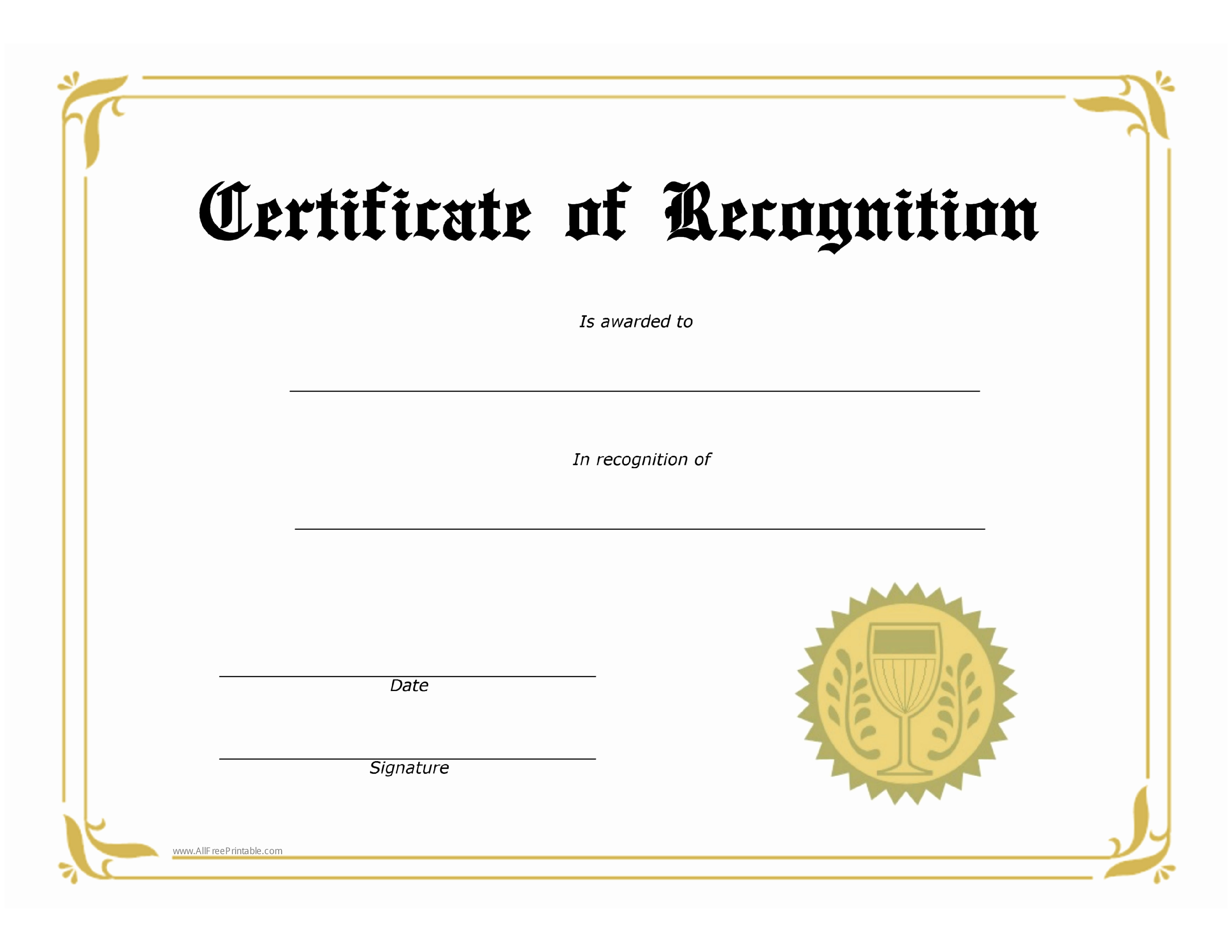 Certificate Of Award Template Free Luxury Free Certificate Of Recognition