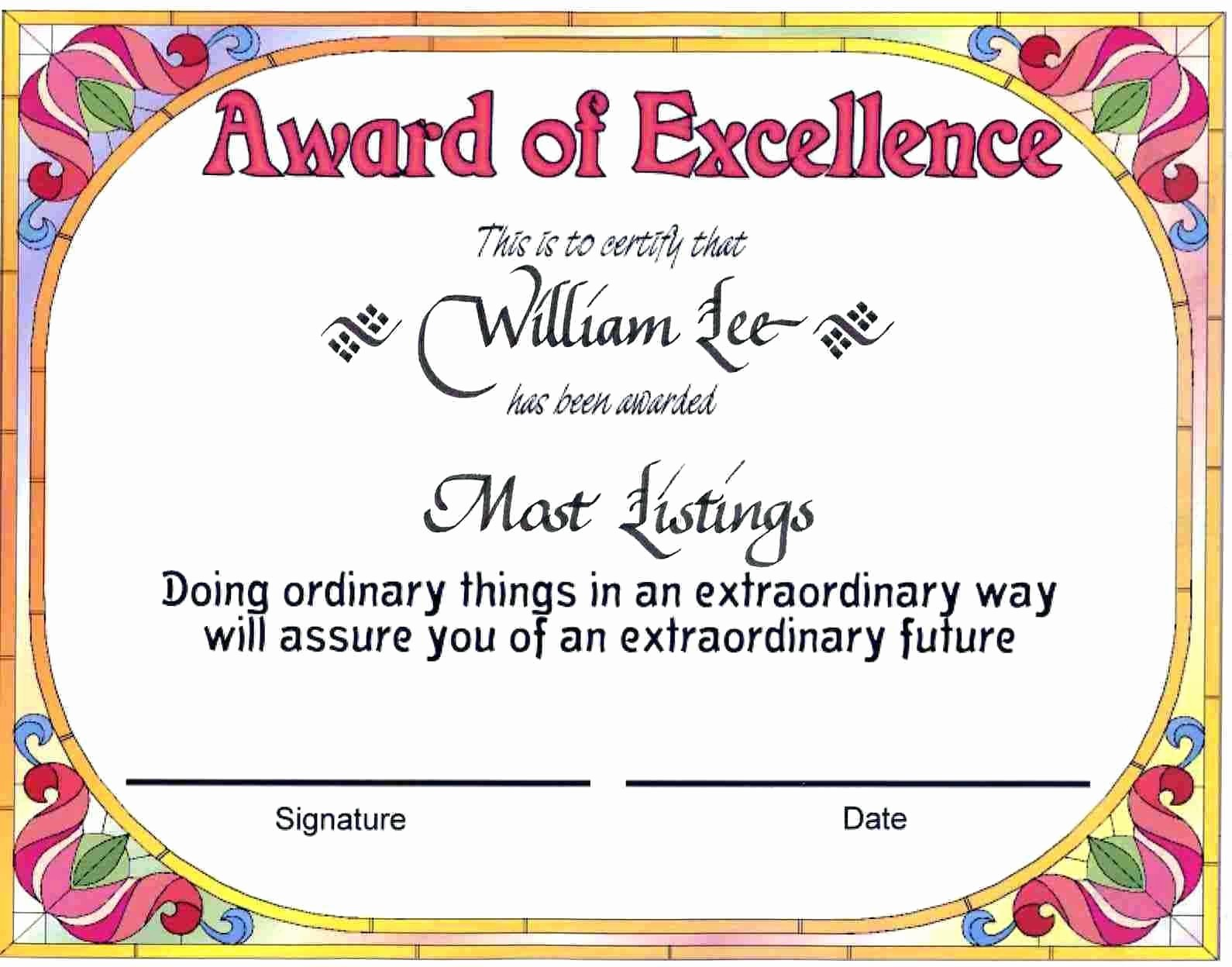 Certificate Of Award Template Free New Template Funny Award Certificate Template