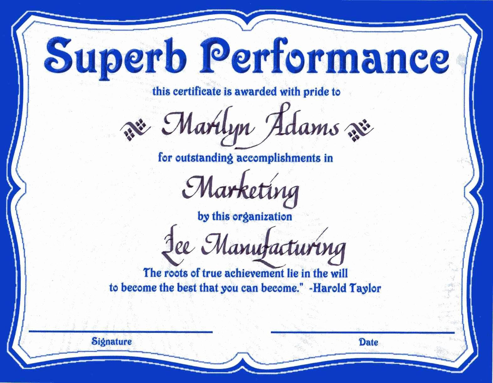 Certificate Of Award Template Free Unique Award Certificates