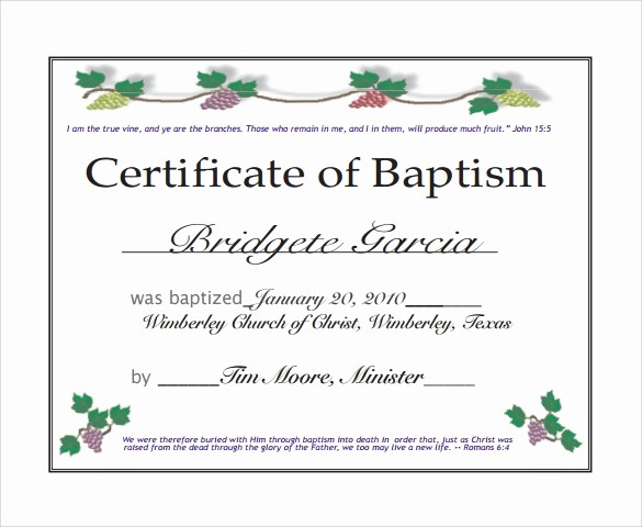 Certificate Of Baptism Word Template Awesome 20 Baptism Certificates