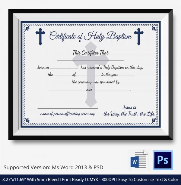 Certificate Of Baptism Word Template Beautiful 20 Baptism Certificates
