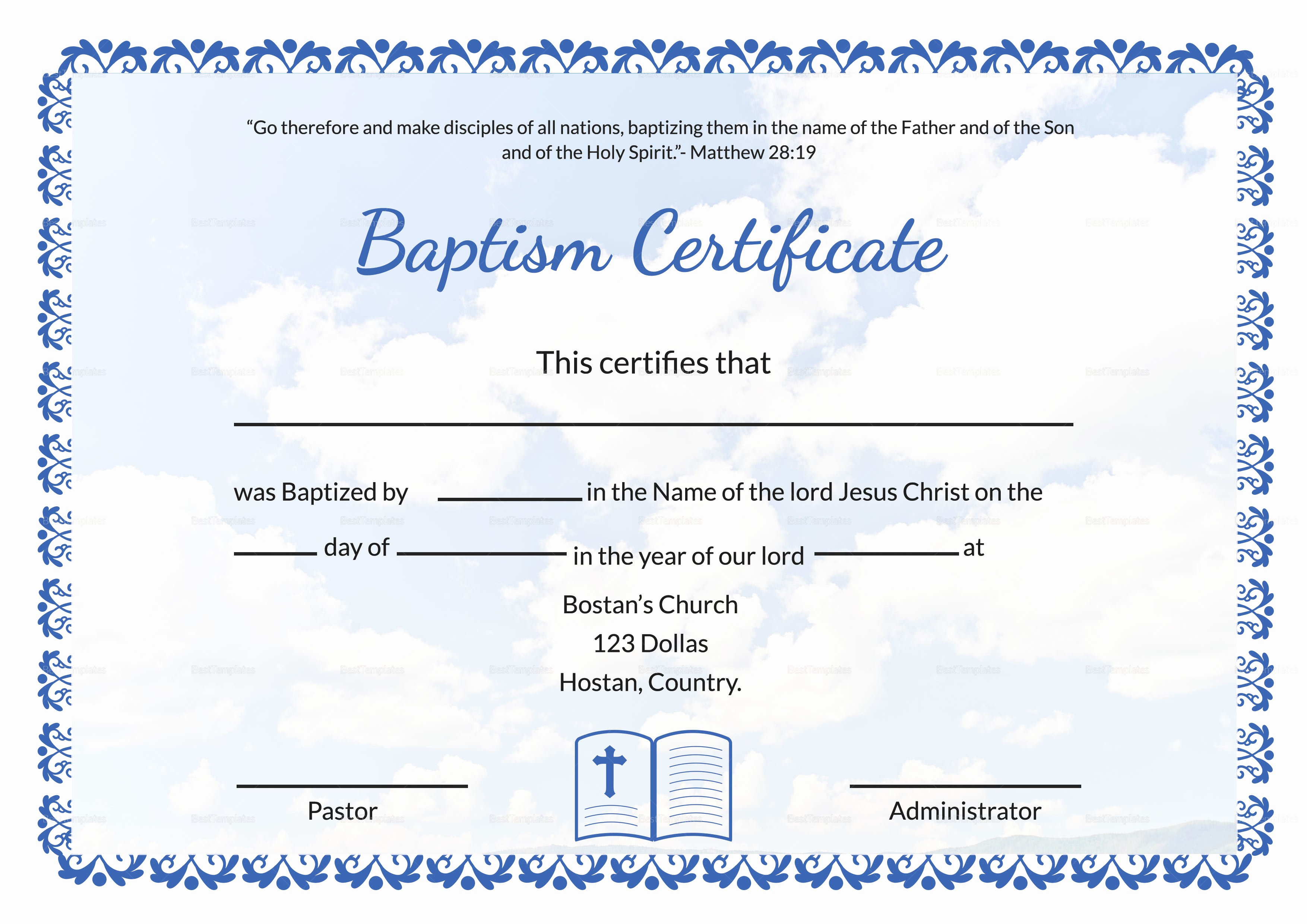 Certificate Of Baptism Word Template Beautiful Editable Baptism Certificate Template In Adobe Shop