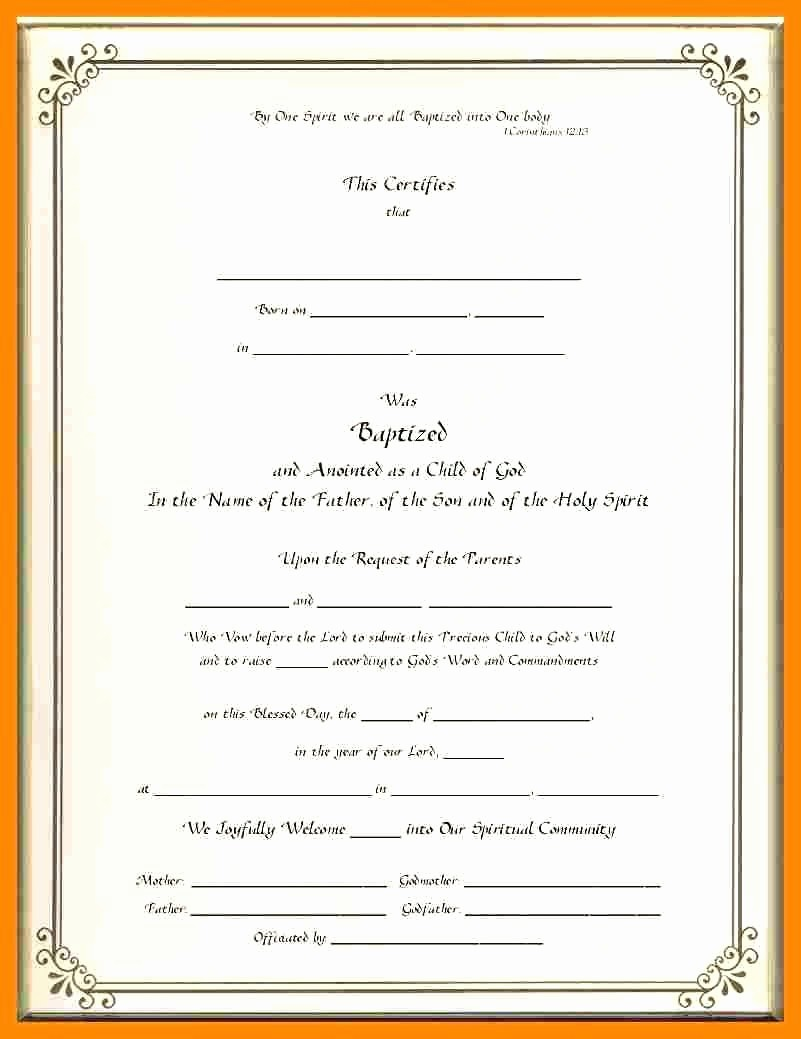 Certificate Of Baptism Word Template Beautiful Template Baptism Certificate Template Word