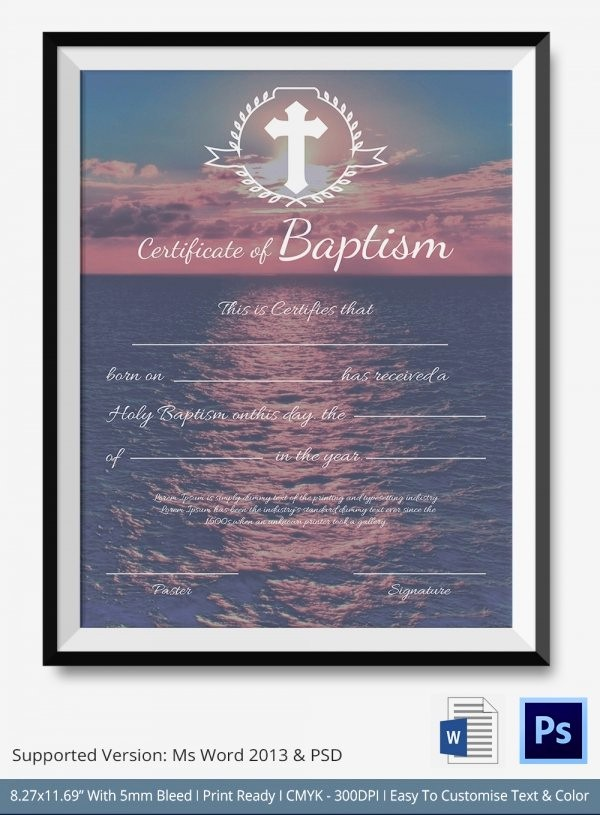 Certificate Of Baptism Word Template Elegant 21 Sample Baptism Certificate Templates Free Sample