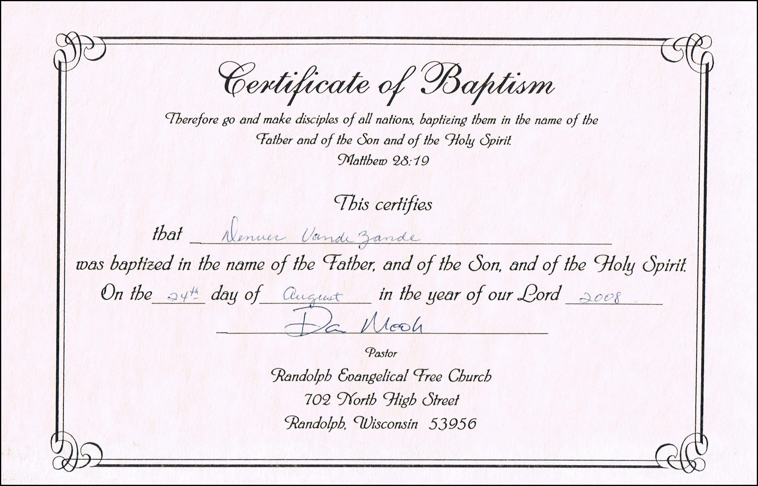 Certificate Of Baptism Word Template Elegant Baptism Certificate Templates for Word