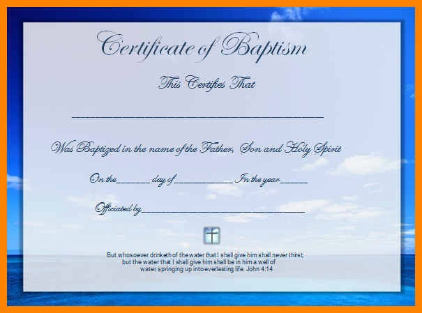 Certificate Of Baptism Word Template Fresh Baptism Certificate Template Word Image Collections Free