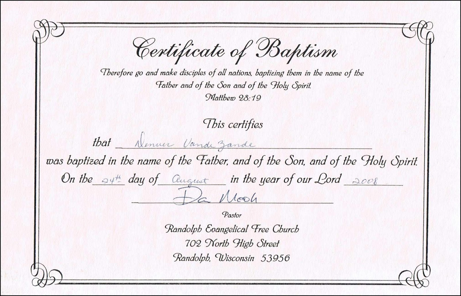 Certificate Of Baptism Word Template Inspirational Sample Baptism Certificate Templates
