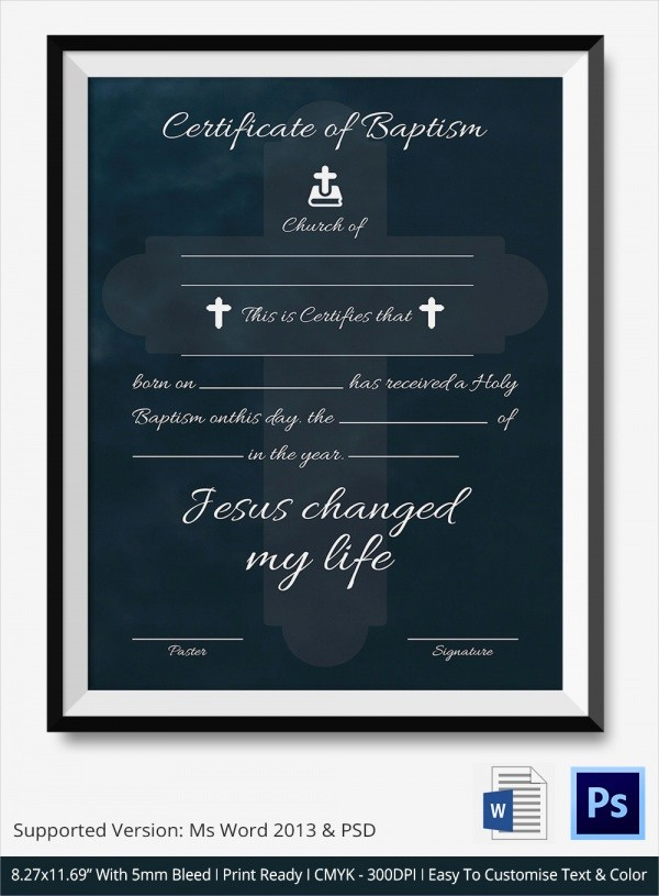 Certificate Of Baptism Word Template Lovely 20 Baptism Certificates