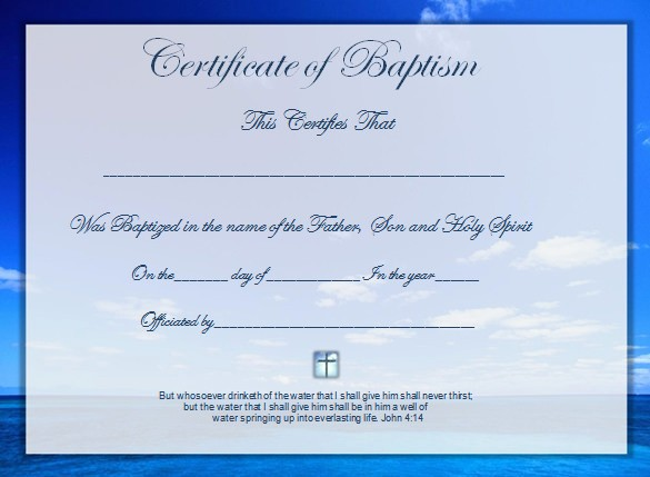 Certificate Of Baptism Word Template Lovely Word Certificate Template 49 Free Download Samples