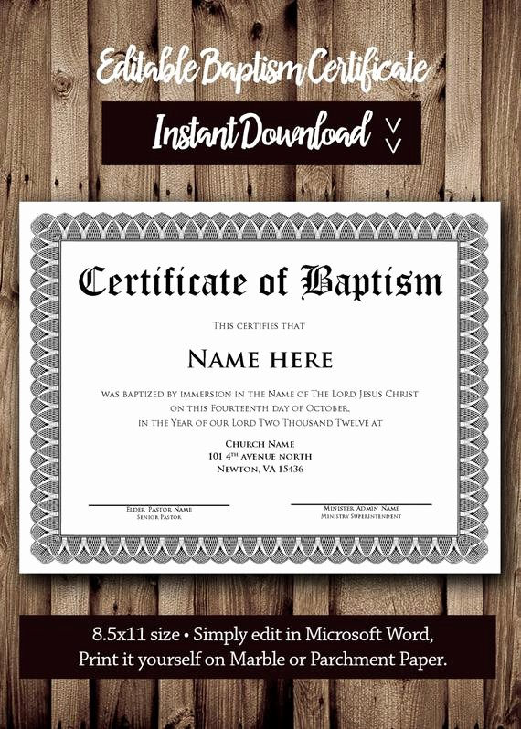 Certificate Of Baptism Word Template Luxury Baptism Certificate Template Microsoft Word Editable