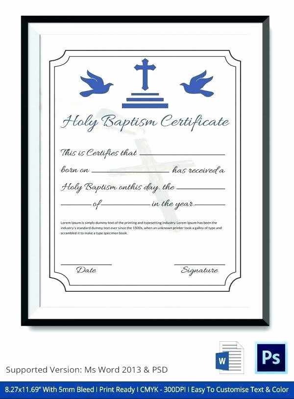 Certificate Of Baptism Word Template Luxury Dummy Certificate Template Beautiful Thank You Templates 6