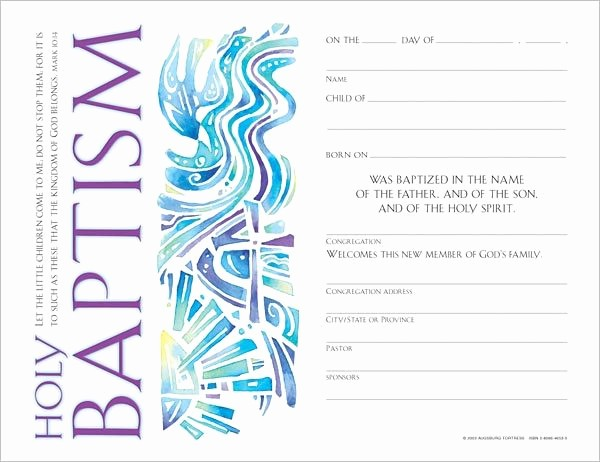Certificate Of Baptism Word Template New Munity Child S Baptism Certificate Quantity Per