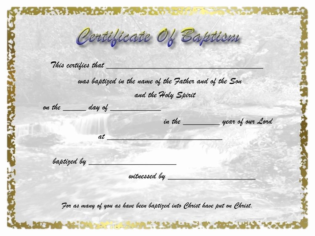 Certificate Of Baptism Word Template New New Certificate Free Template