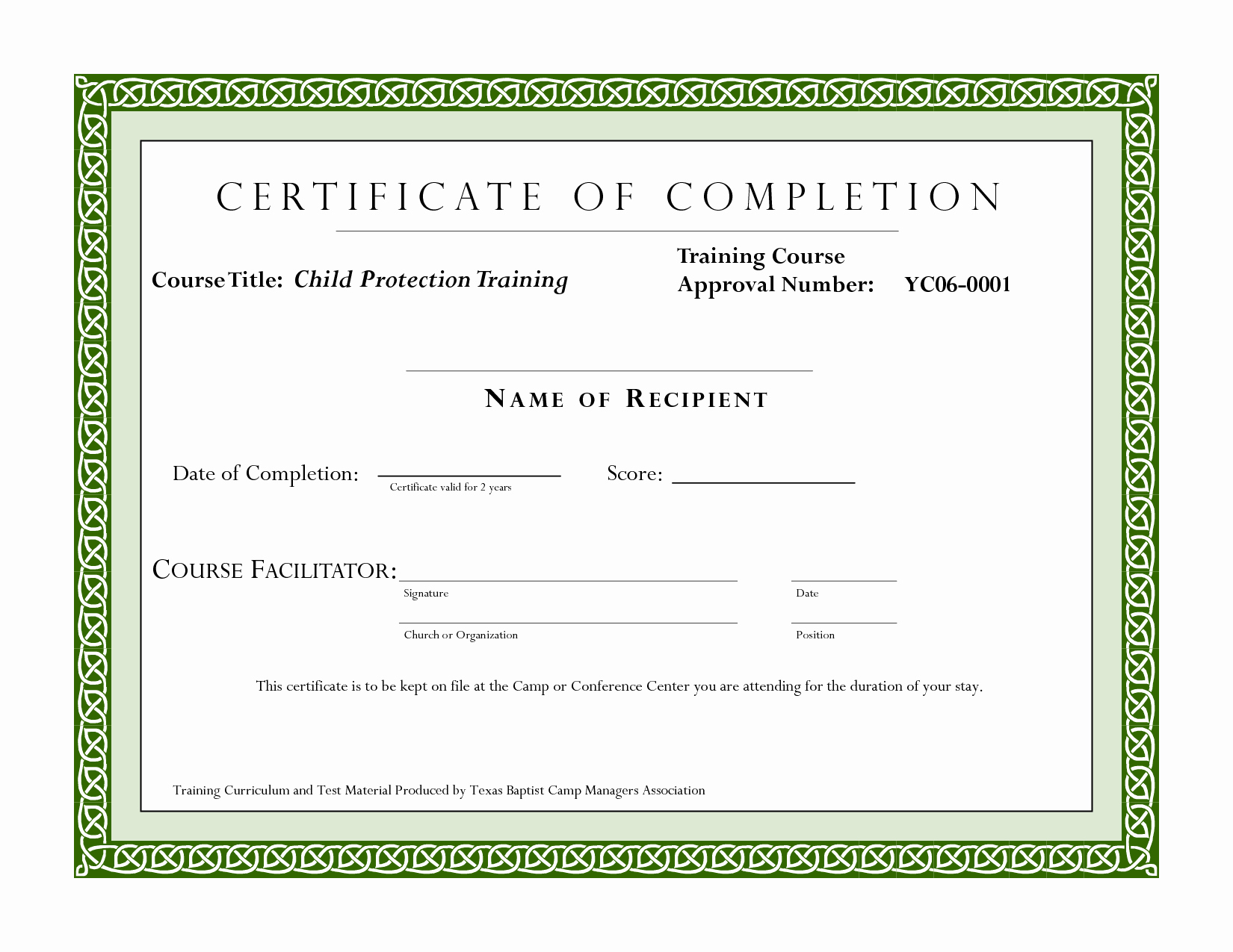 Certificate Of Completion Of Training Awesome Course Pletion Certificate Template
