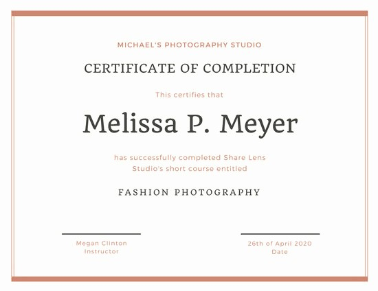 Certificate Of Completion Of Training Awesome Customize 265 Pletion Certificate Templates Online Canva