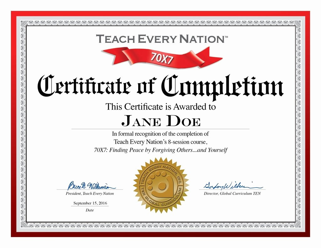 Certificate Of Completion Of Training Beautiful 70x7 Certificate Of Course Pletion Download Free