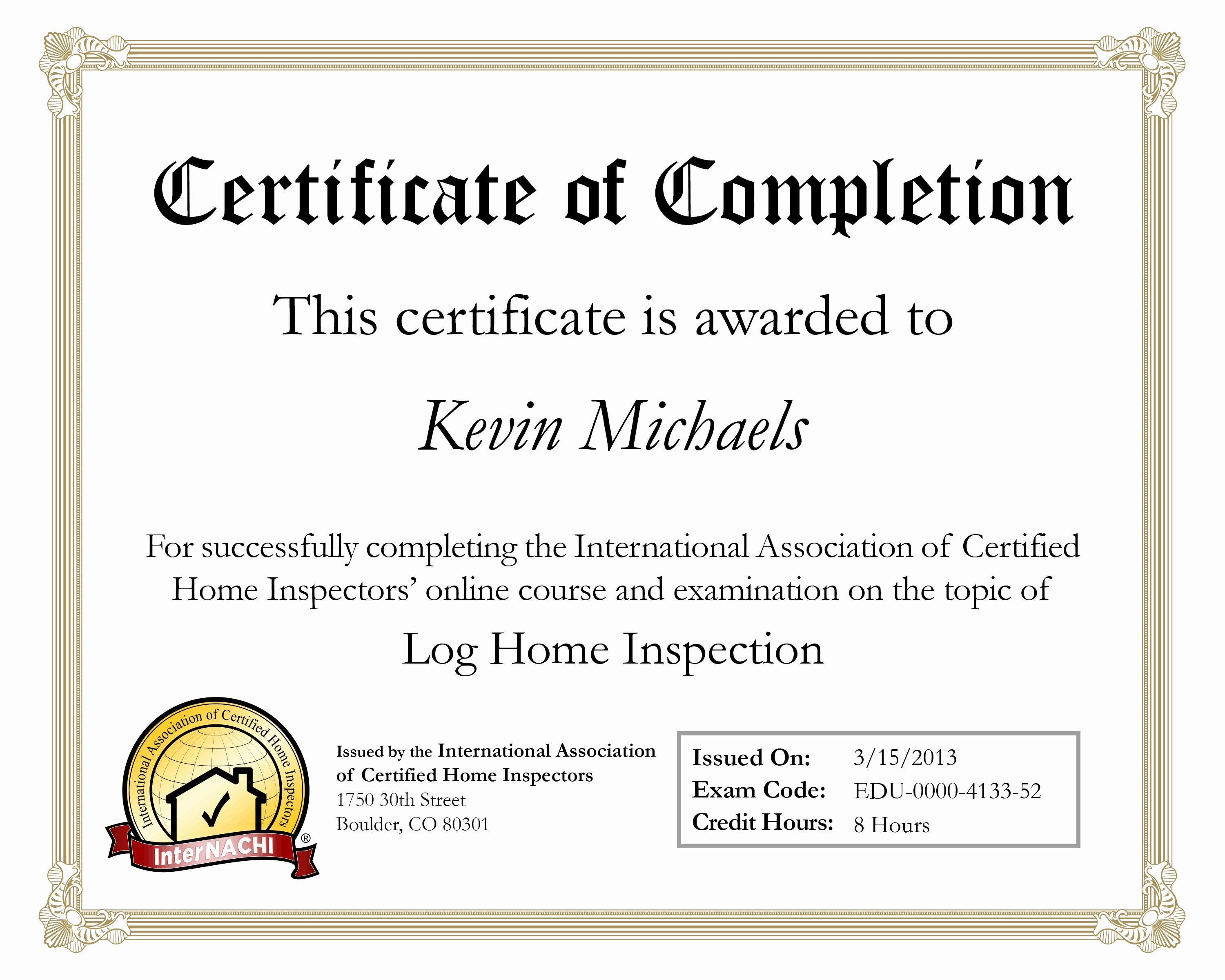 Certificate Of Completion Of Training Beautiful Log Home Inspections