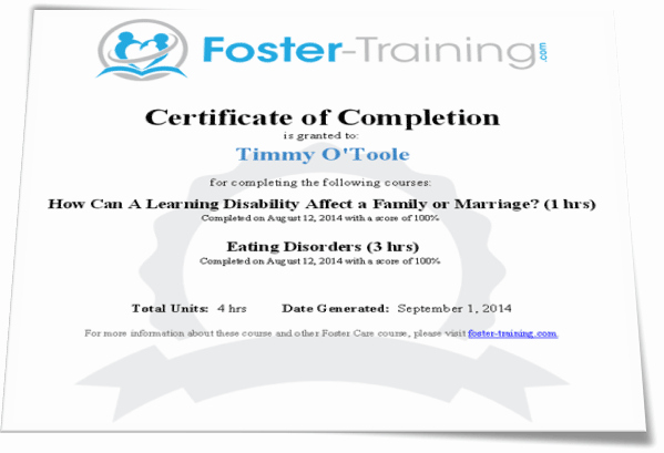 Certificate Of Completion Of Training Best Of Foster Training Certificates