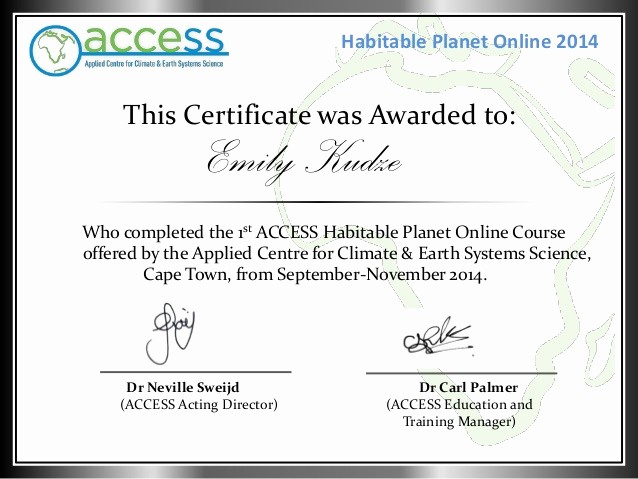 Certificate Of Completion Of Training Best Of Habitable Planet Line Course Pletion Certificate