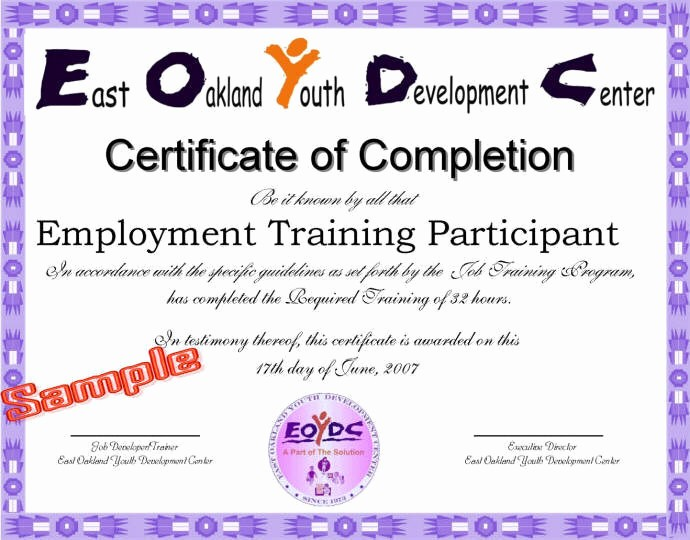Certificate Of Completion Of Training Best Of Job Training Certificate Eoydc