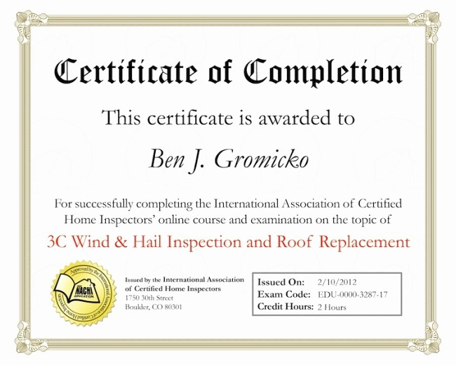 Certificate Of Completion Of Training Best Of Roof Inspection Line Training Internachi