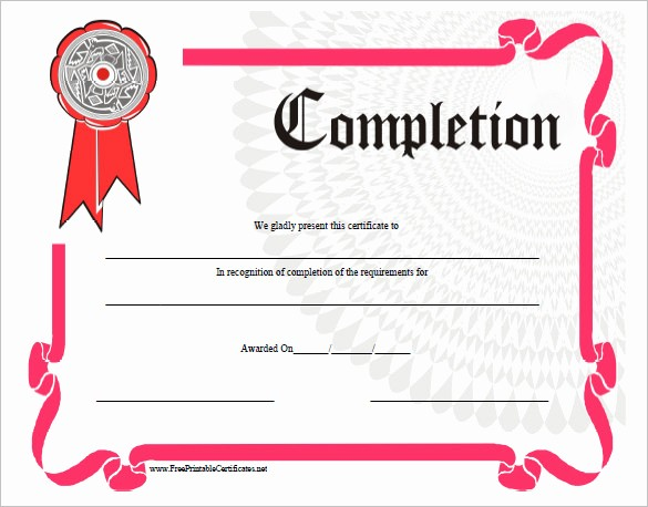 Certificate Of Completion Of Training Elegant 38 Pletion Certificate Templates Free Word Pdf Psd