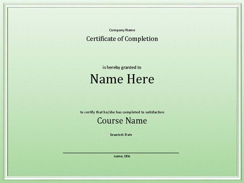 Certificate Of Completion Of Training Elegant Course Pletion Certificate