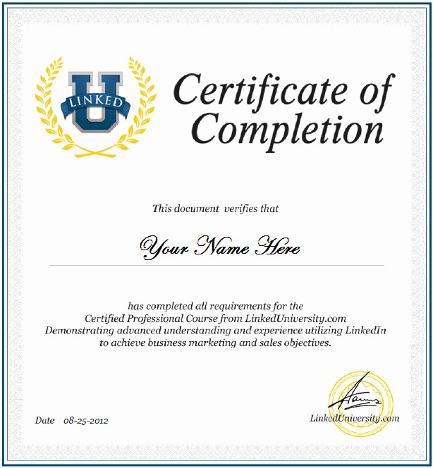 Certificate Of Completion Of Training Elegant Linkedin Certification Linked Universitylinked University