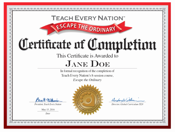 "Certificate Of Completion Of Training Elegant ""escape the ordinary"" Certificate Of Course Pletion"