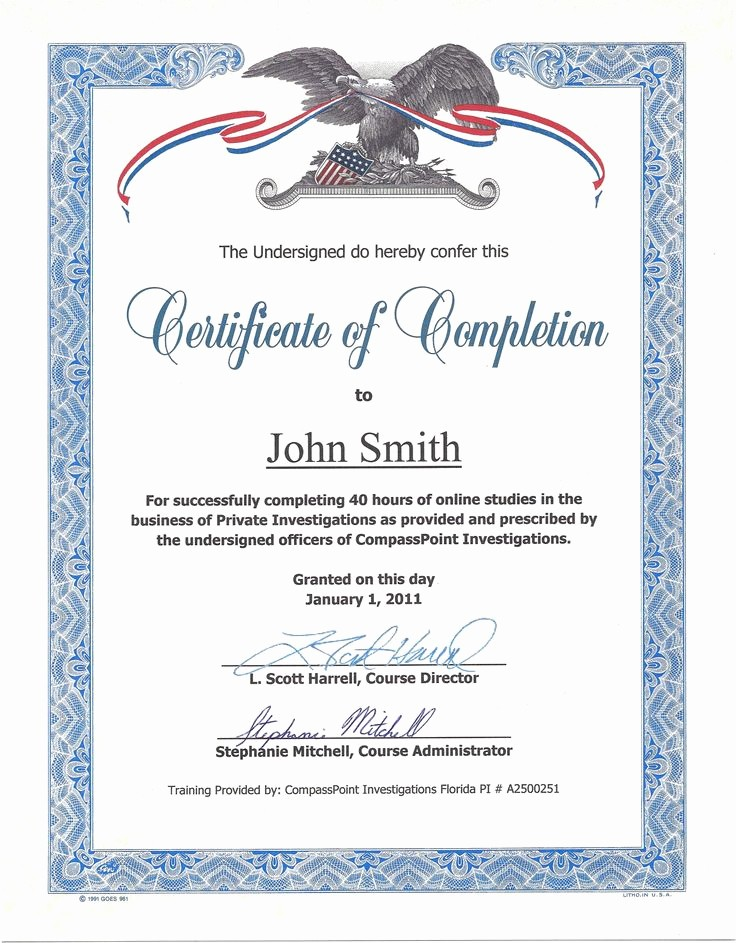 Certificate Of Completion Of Training Fresh 17 Best Images About Great Certificates On Pinterest