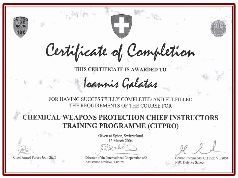 Certificate Of Completion Of Training Fresh Allergy & Cbrne Consultant
