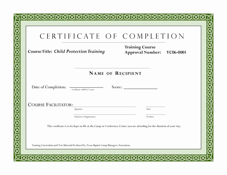 Certificate Of Completion Of Training Fresh Course Pletion Certificate Template