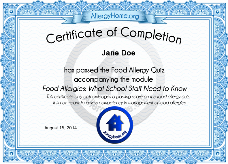 Certificate Of Completion Of Training Inspirational Allergyhome Michigan School Staff Training Level 1