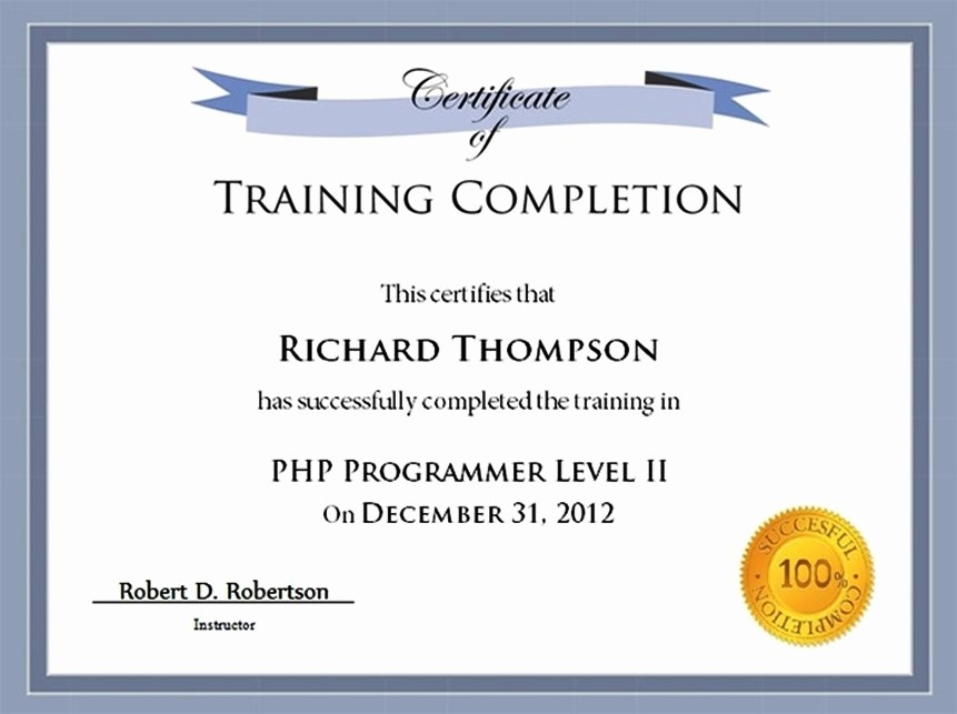 Certificate Of Completion Of Training Lovely Training Certificate Template
