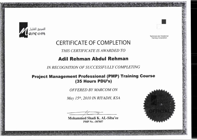 Certificate Of Completion Of Training New Certificate Of Pletion Pmp Training Course