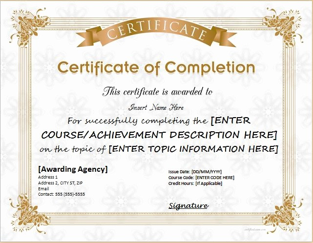Certificate Of Completion Of Training Unique Certificates Of Pletion Templates for Microsoft Word