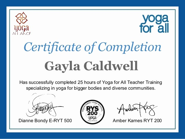 Certificate Of Completion Of Training Unique Gayla Caldwellyoga for All Line Training Certificate Of