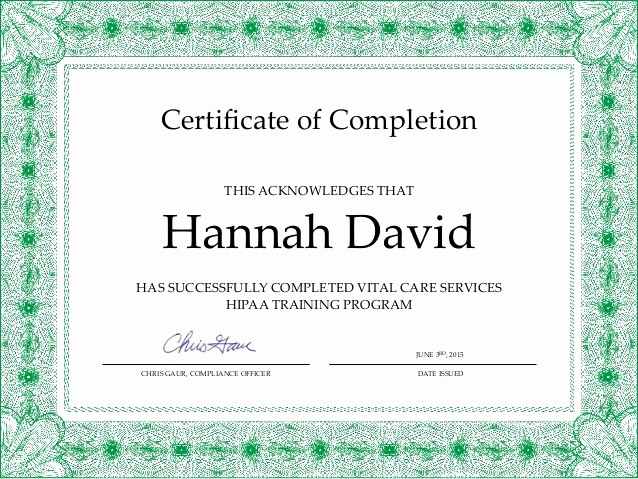 Certificate Of Completion Of Training Unique Hipaa Course Pletion Certificate Hdavid 1