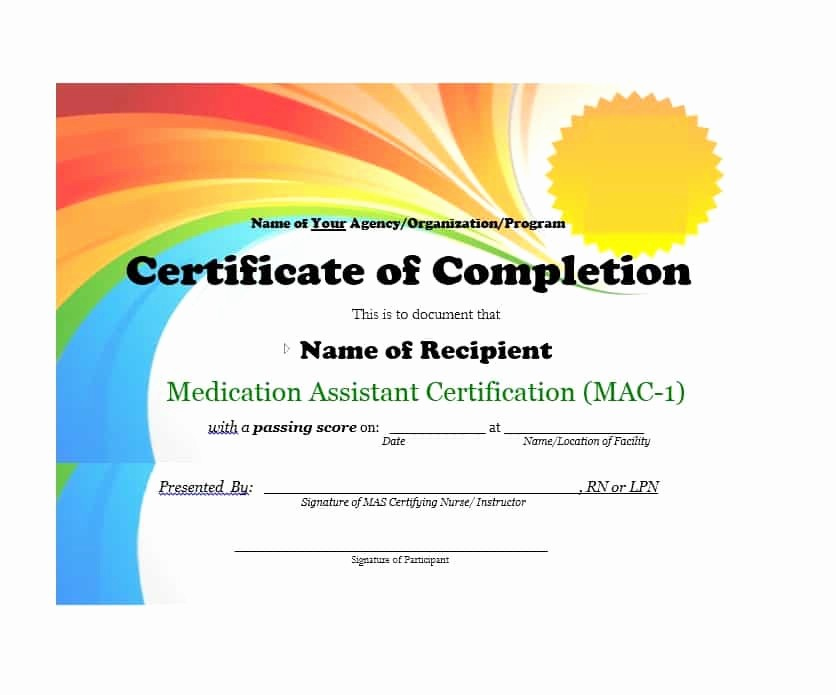 Certificate Of Completion Template Powerpoint Awesome 40 Fantastic Certificate Of Pletion Templates [word