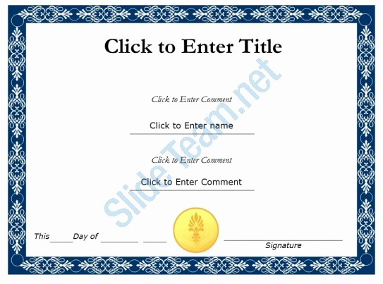 Certificate Of Completion Template Powerpoint Lovely Student Recognition Diploma Certificate Template Of
