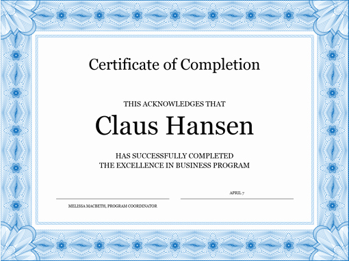 Certificate Of Completion Template Powerpoint Luxury Certificate Of Pletion Blue