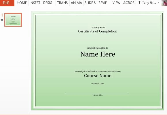 Certificate Of Completion Template Powerpoint New Course Pletion Certificate Template for Powerpoint